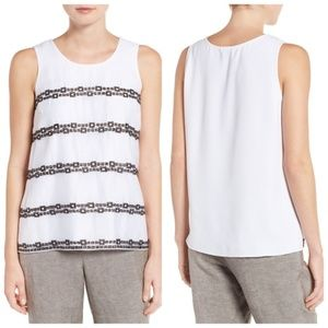 NIC+ZOE 'Squares Away' Embroidered Tank
